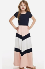 Chevron pattern color blocked maxi dress
