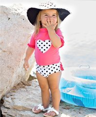 Candy Polka Heart Ruffled Rash Guard Bikini