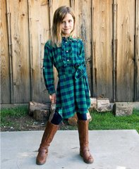 Navy Buffalo Plaid Shirt Dress