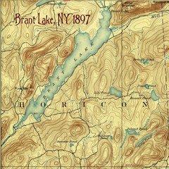 Brant Lake New York 1897 Topographic Map Shirt