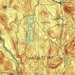 Friends Lake New York 1897 Topographic Map Shirt