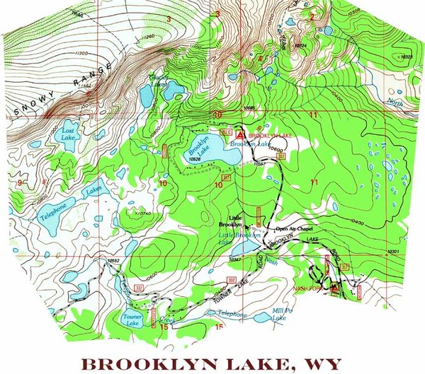 Brooklyn Lake Wyoming Topographic Map Shirt Topotees Wear the