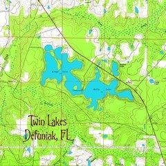 Twin Lakes, Defuniak, FL Topographic Map Shirt