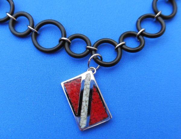 Dive flag bracelet no tarnish rhodium plated bronze chip inlay pendant on 7 o ring bracelet aloadofball Choice Image