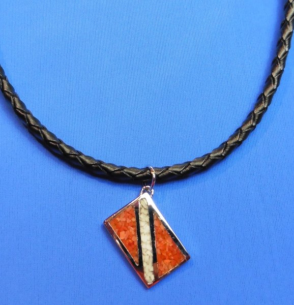 Pendant with Dive Flag (includes braided leather cord)