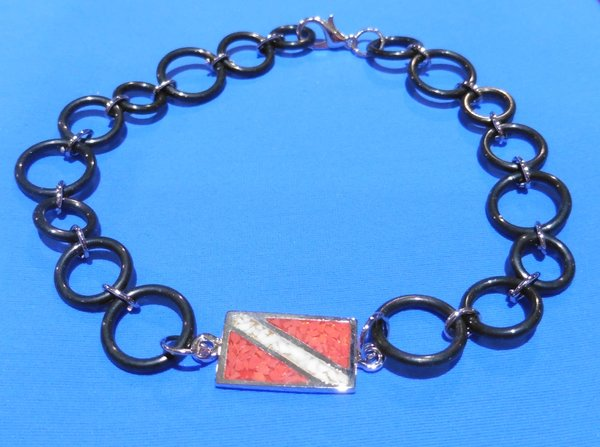 "Sterling Silver 9"" Dive Flag Anklet with O-Ring Chain"