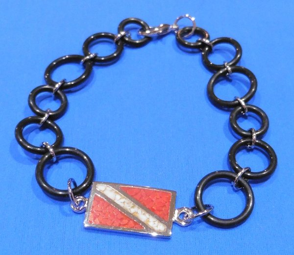"""Sterling Silver 8"""" Dive Flag Bracelet with O-Ring Chain"""