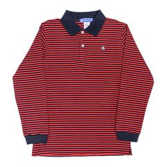 J Bailey Navy and Red Striped Polo Shirt