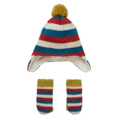 Piccalilly Wool Hand Knitted Stripe Fleece Lined Hat and Mittens Set