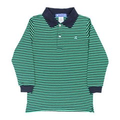 J Bailey Navy and Green Striped Polo Shirt