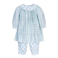 Bailey Boys Girls Light Blue Geometric Float Dress With Bloomer