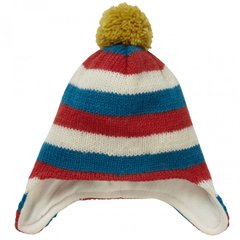 Piccalilly Wool Hand Knitted Stripe Fleece Lined Hat