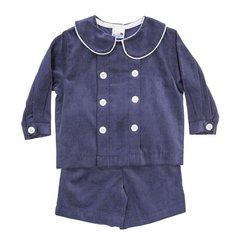 Bailey Boys Navy Cord Dressy Short Set