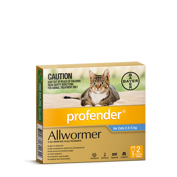 profender allwormer blue for medium cats weighing 2 5 5kg on line australian pet products and. Black Bedroom Furniture Sets. Home Design Ideas