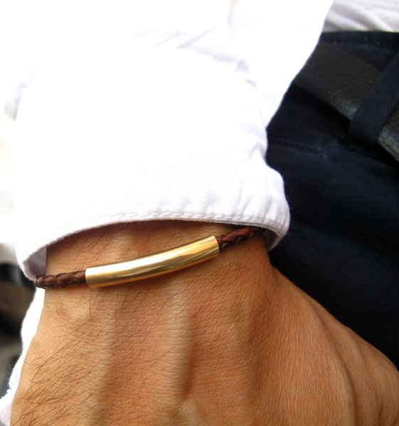 14k Gold Plated Tube Leather Bracelet Silver Jewelry