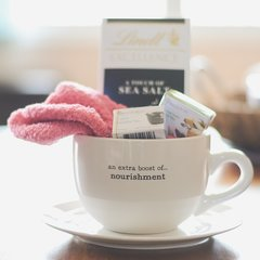 """Gift Basket Mug"" {an extra boost of...nourishment, comfort, xoxo and/or indulgence}"