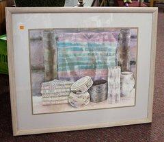 Framed Pottery Watercolor Print by Helen Paul