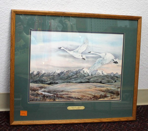 """""""Morning Swans"""" Arival of the Trumpeters Wood Framed Watercolor Signed by Barbara Mellblom"""