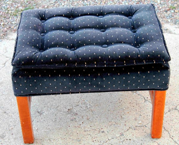 Blue Footstool with Wood Frame