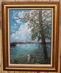 Fishing Framed Oil Painting by Pelky