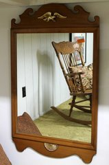 Maple Wood Framed Mirror w/ Eagle Accent