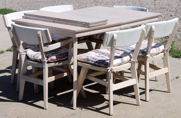 Dining Set Table with 2 leaves and 6 Chairs