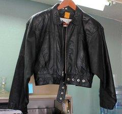 Yucatan Bay Black Leather Crop Jacket