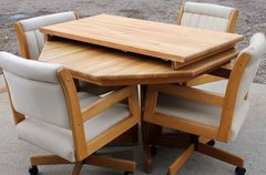 Solid Oak Octagon Dining Table w/ 4 Rolling Chairs