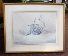 Clipper Ship and Waves in Gold Frame Signed R. H. Nibbs