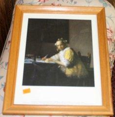 """A Lady Writing"" 1665 Wood Framed Print by Johannes Vermeer"