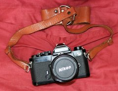 Vintage Nikon FM SLR 35mm Black Film Camera w/ 55mm Lens