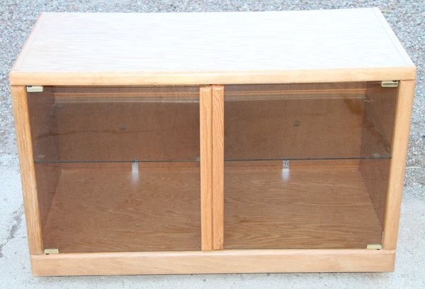 Oak Trimmed TV Stand on Rollers