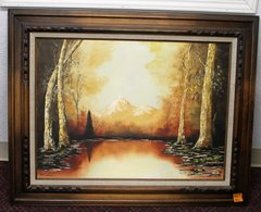 Mountain and Trees Ornate Wood Framed Oil Painting by Pat Locke