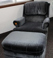 Dark Blue Easy Chair and Ottoman-w/ Recline Feature