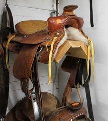 "15"" Suede Seat Saddle with Steel Trim Stirrups"