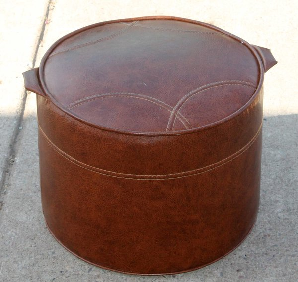 Brown Round Vinyl Foot Stool