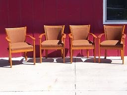 Wood Arm Chairs With Brown Upholstery
