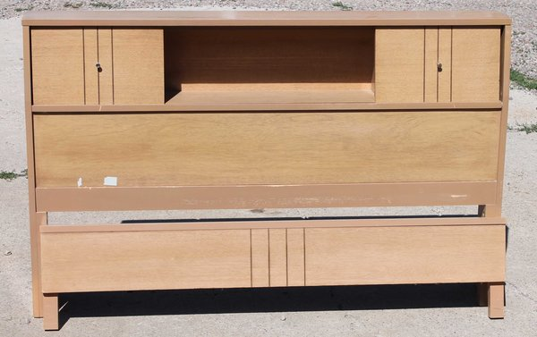 1960's Full Size Bookcase Head and Footboard w/ Rails
