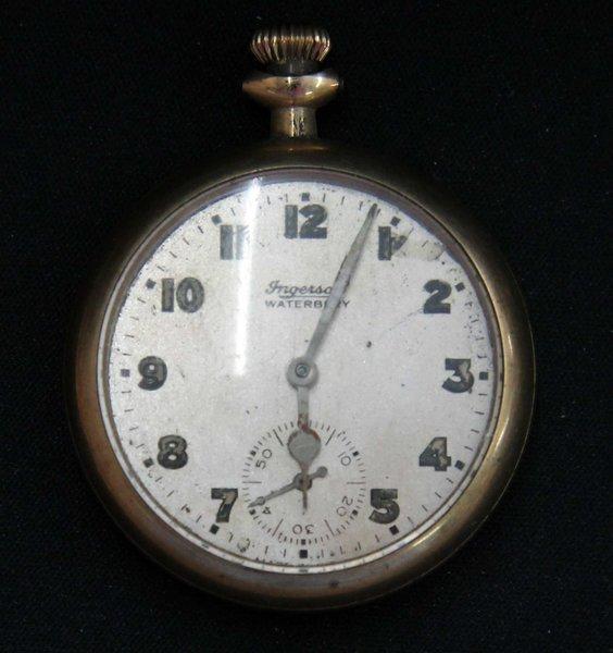 Antique 1909 Ingersoll Waterbury Pocket Watch 4j-Gold Filled Case