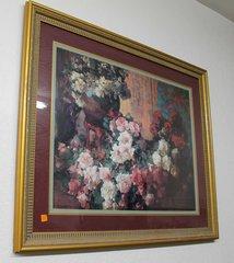Roses Print in Large Ornate Gold Frame