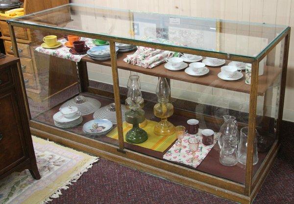 Antique Oak & Glass Showcase