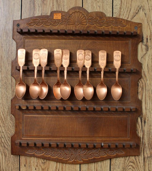Wood Spoon Rack and Copper Spoons