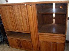Oak Entertainment Center w/ Locking Storage