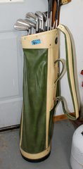 Green and Tan Golf Bag and Clubs