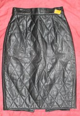 Vakko Black Leather Skirt