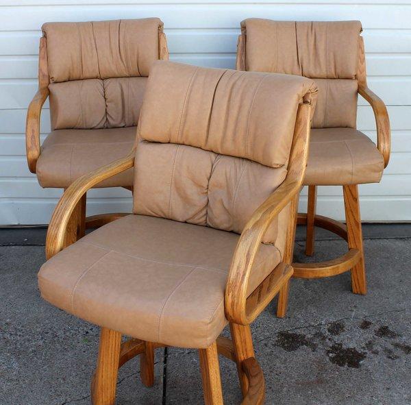 1-Solid Oak Tan Leather Swivel Bar Stool