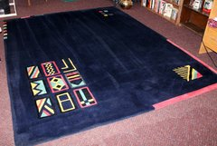 Very Heavy Navy Blue Area Rug w/ Colorful Accents