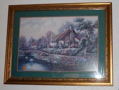 """Village of Selworthy"" Ornate Gold Framed Print by Carl Valente"