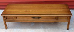 Wood Coffee Table w/ Glass Top