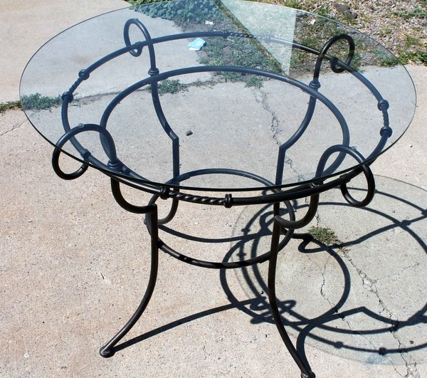 "36"" Round Wrought Iron Table w/ Glass Top"